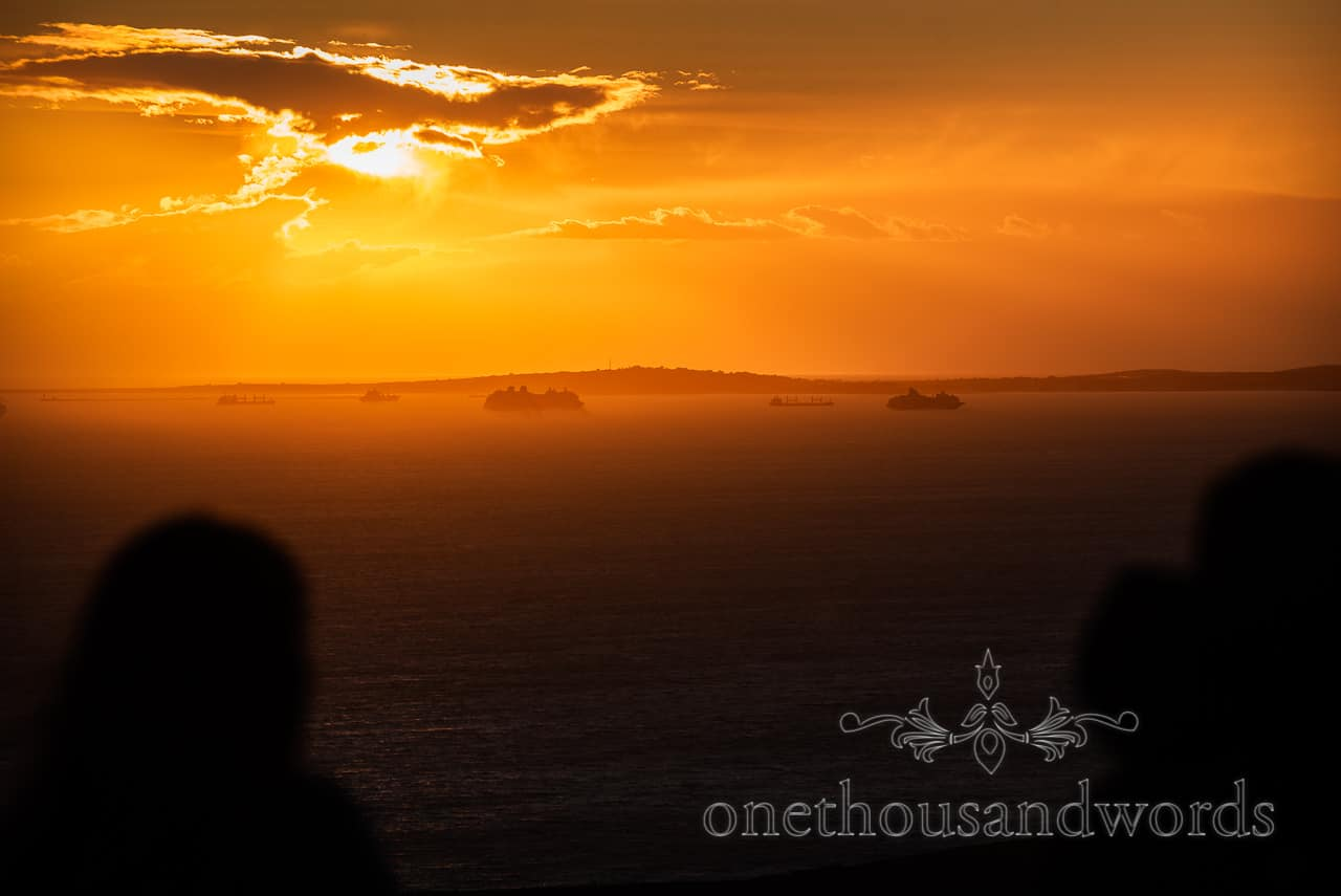 Cruise ships in Weymouth Dorset at Sunset from Swyre head