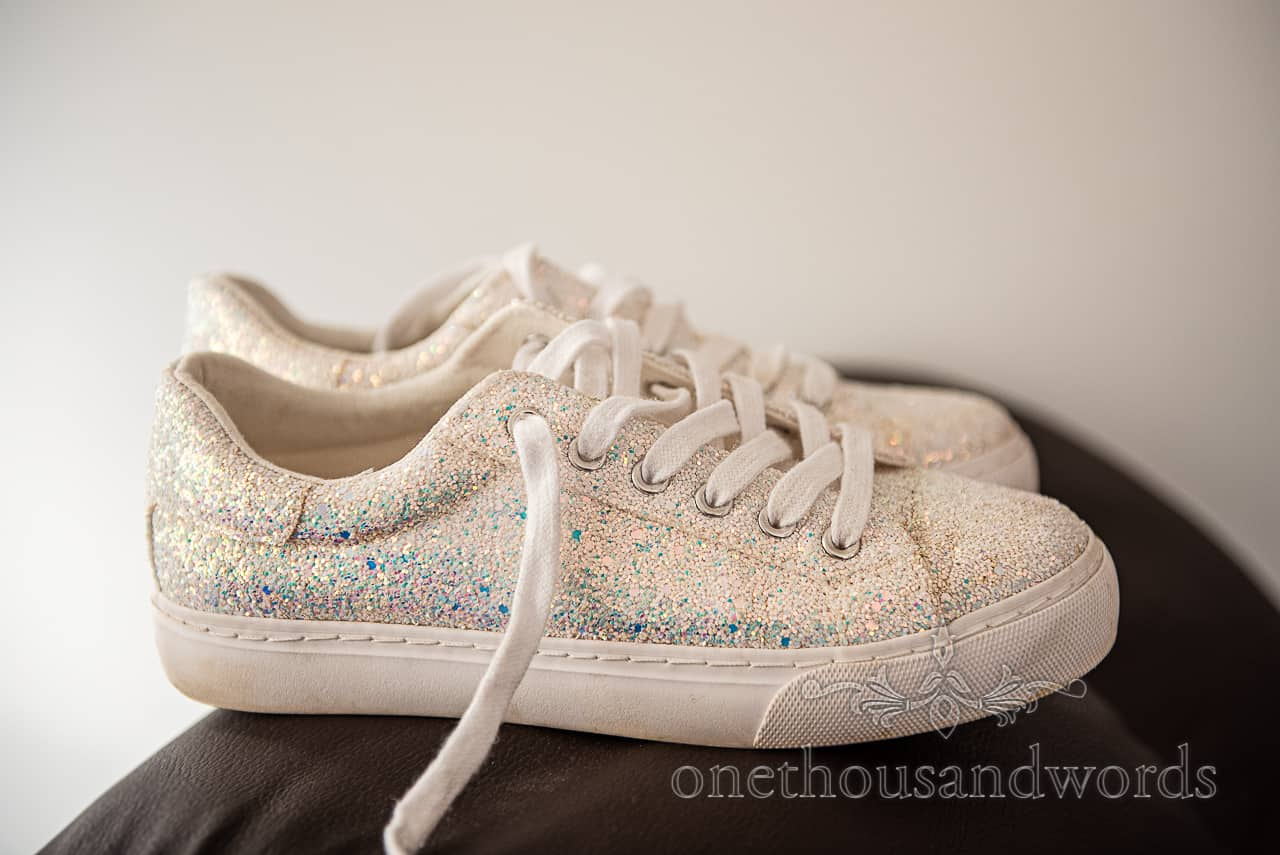 White glitter trainers to be used as wedding shoes