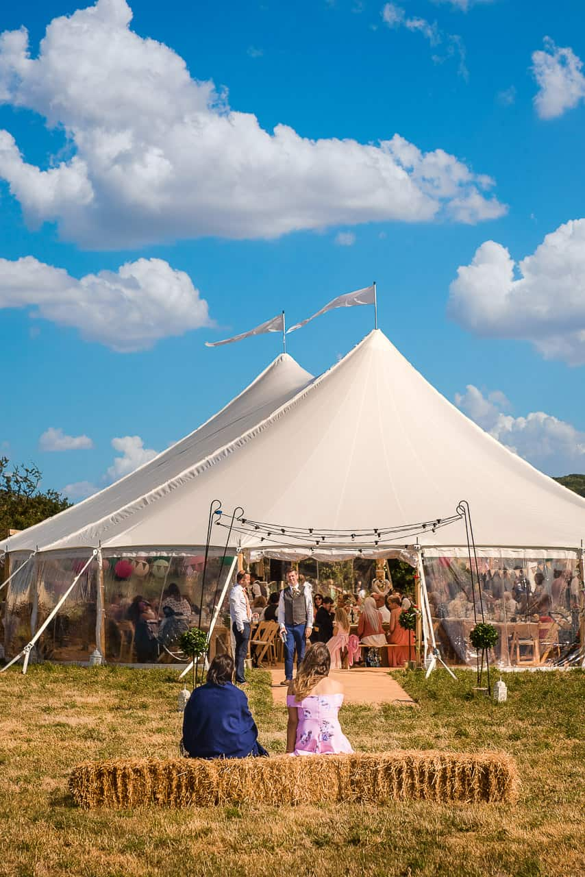 Wedding photograph of sailcloth tent at Dorset countryside wedding