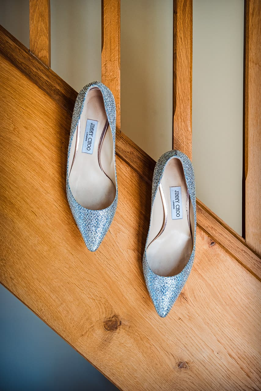 Jimmy Choo wedding shoes detail photograph by one thousand words wedding photographers