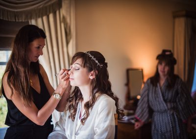 Bride wedding makeup photographed by one thousand words at Hethfelton House wedding venue morning in Dorset
