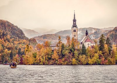 Destination wedding venue church in Lake Bled Slovenia photograph by one thousand words wedding photographers