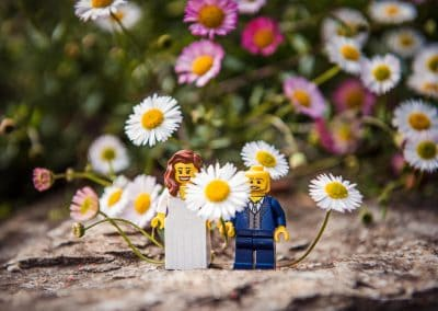 Detail wedding photograph of lego bride and groom on stone wall amongst daisys