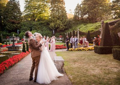 Natural couple photographs of bride and groom laughing at The Italian Villa wedding venue in Dorset