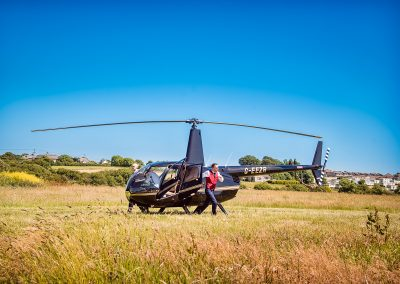Grooms run from wedding helicopter in Dorset countryside