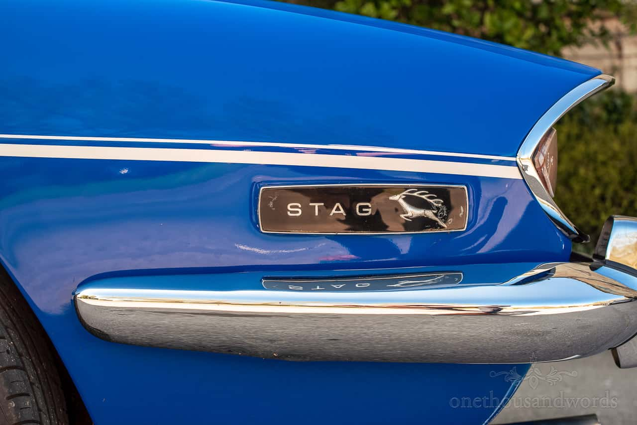 Close up photo of blue triumph stag chrome and badge