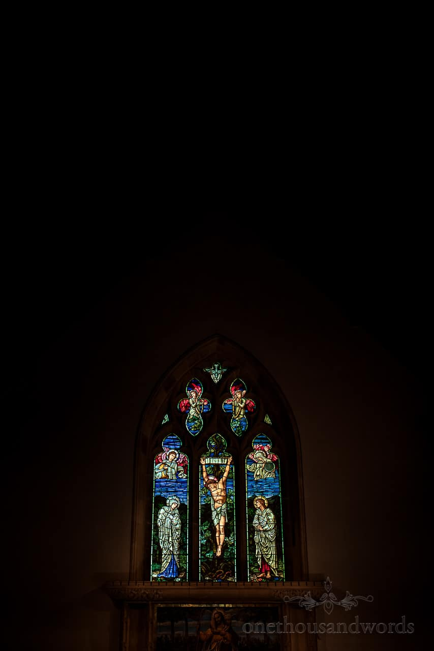 Glowing colours in stained glass church window