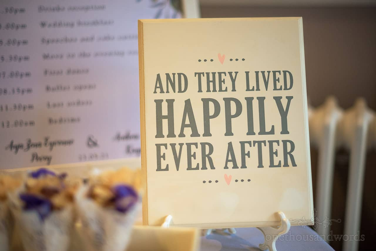 And they lived happily ever after printed wedding sign photo