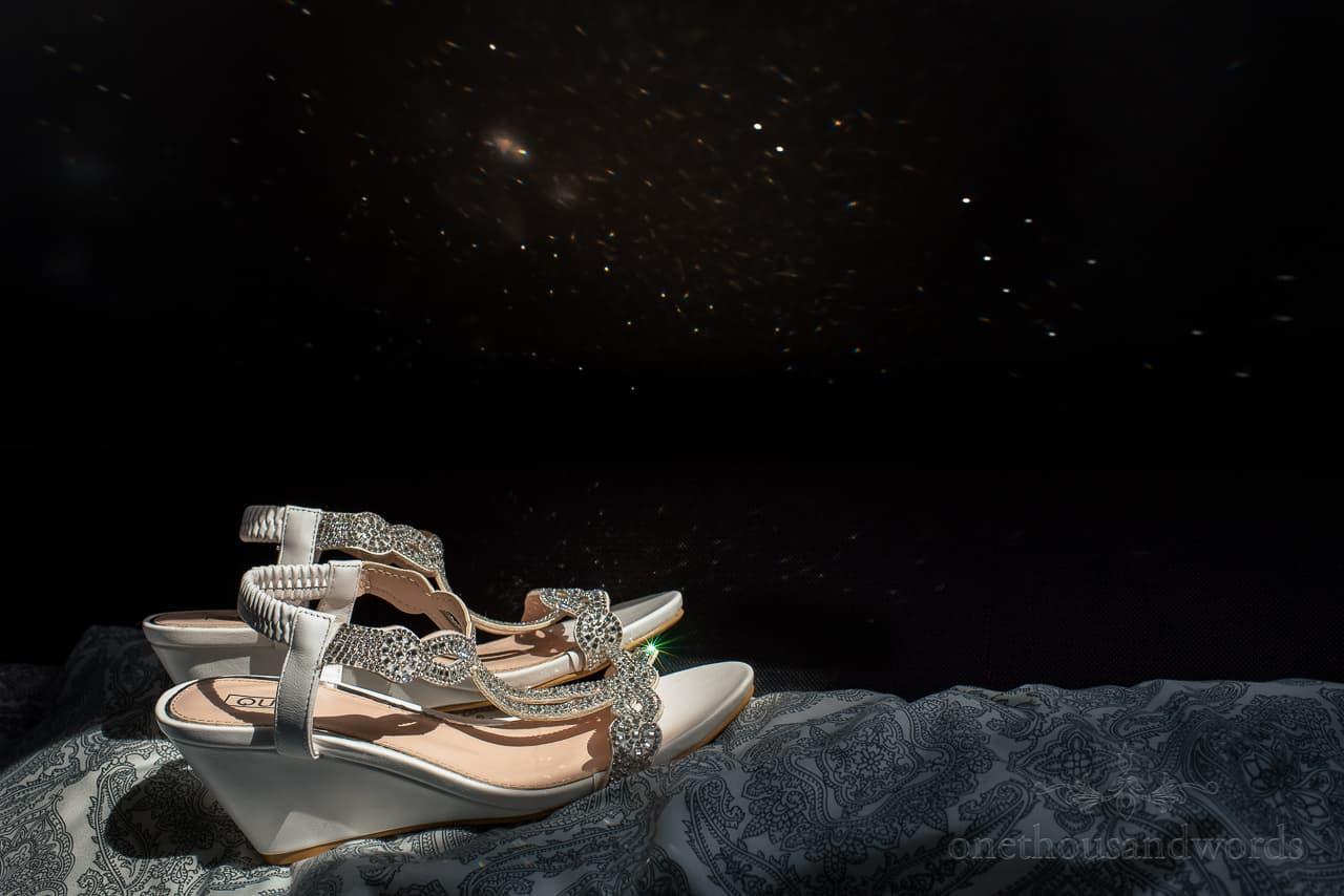 Diamante wedding shoes sandals reflecting sun sparkle looks like stars