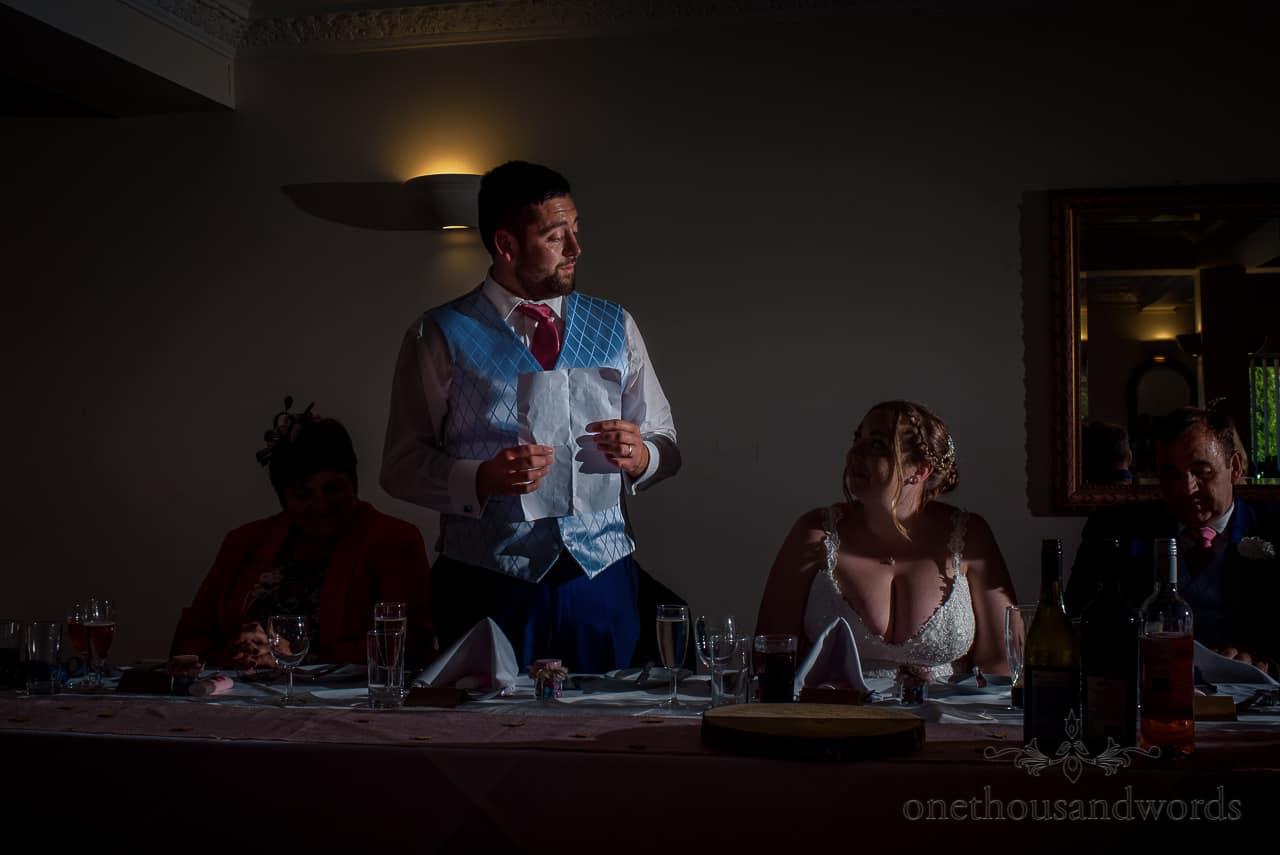 Groom's wedding speech from top table at Dorset Hotel Wedding