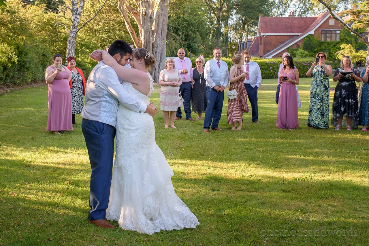Outdoor first dance at Springfield hotel wedding venue in Dorset
