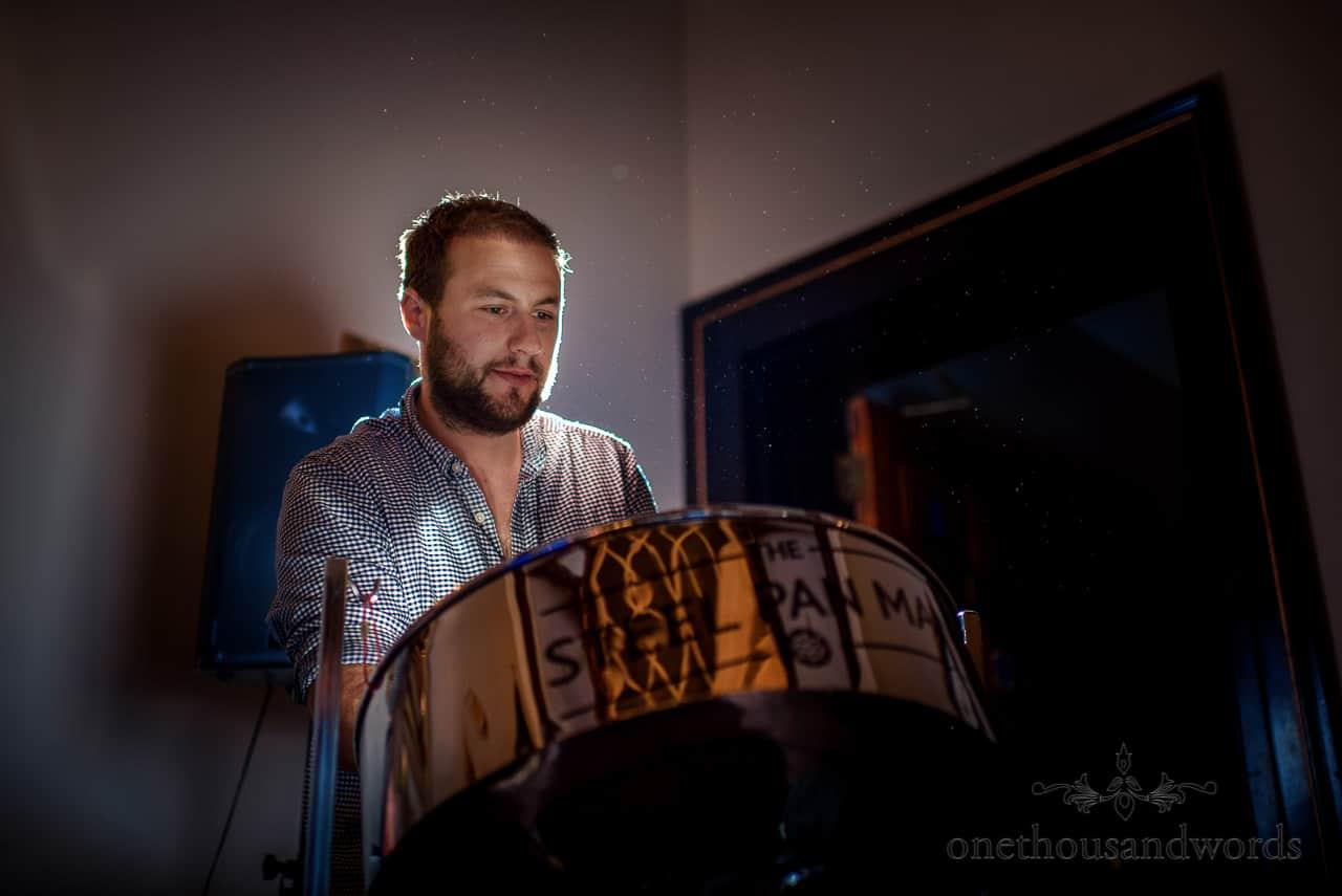 Alex Clifton steel pan man plays music at wedding drinks reception