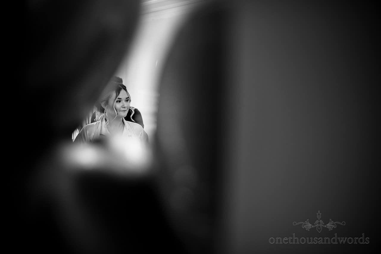 Black and white bridesmaid portrait photo shoot through photo