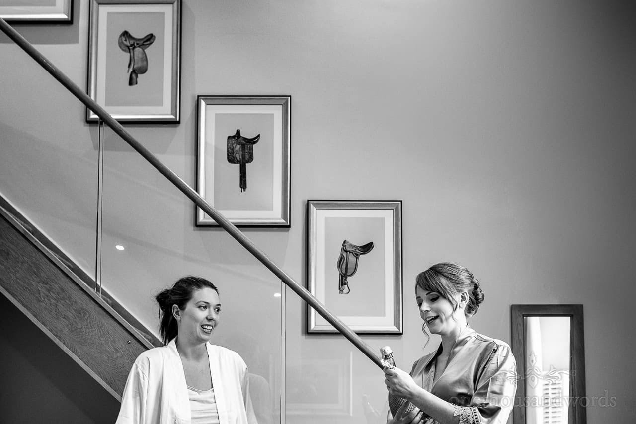Black and white documentary wedding photography at Oakley Hall on wedding morning