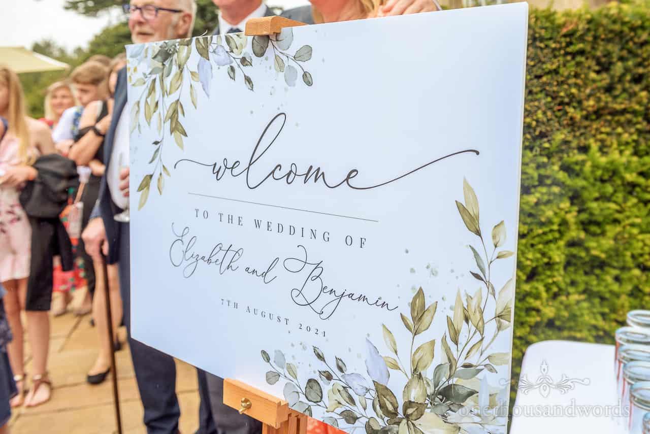 Custom design script of wedding welcome sign photo