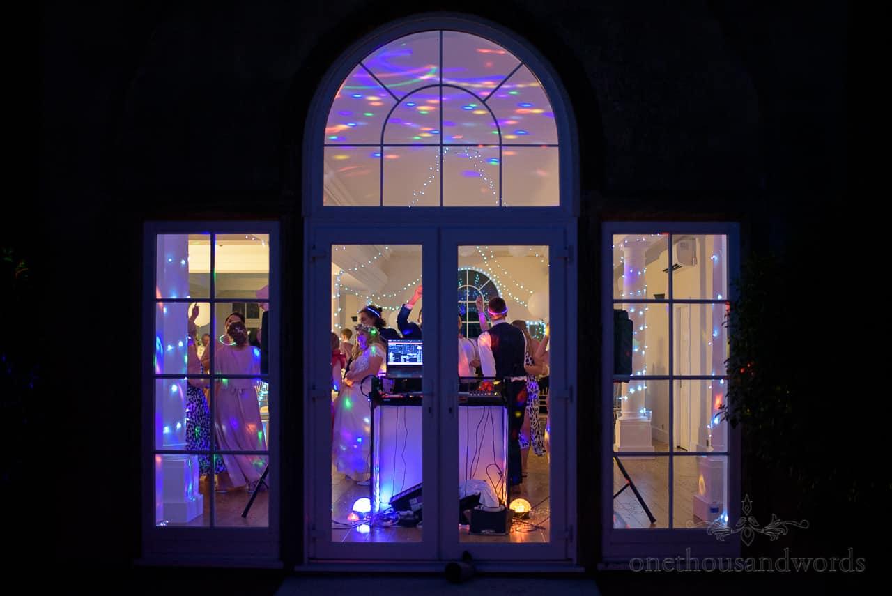 Hethfelton House wedding disco dancing coloured lights in windows